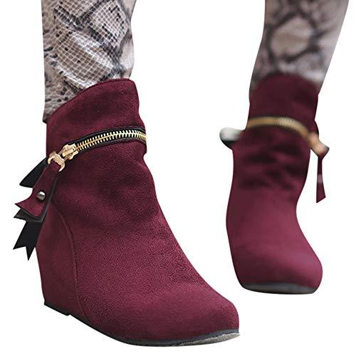 Stiefel Damen Boots Frauen Erhöhen Stiefel Spitz Zip Bow Stiefel Klassische Knöchel Freizeitschuhe Outdoor Stiefeletten Party Leder Boots ABsoar (Damen-western-stiefel Knöchel)