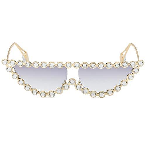 RONGLINGXING 2019 Mode Premium Polarized Sonnenbrillen für Frauen, Cat Eyes Sonnenbrillen mit Perle, klassisches Design im Freien UV-Schutz für Männer (Color : Gray, Size : M)