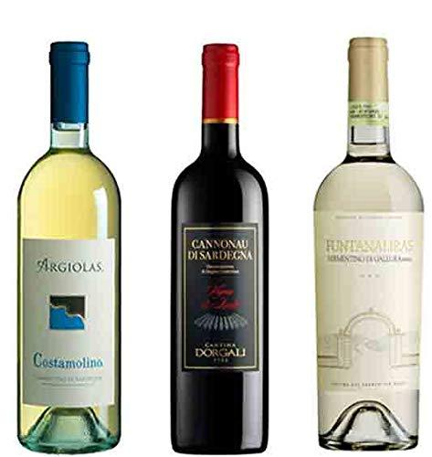 3 bottiglie di vino della Sardegna (Vermentino Funtanaliras ORO DOCG cl.75, Cannonau Vigna isalle DOC cl.75, Vermentino Costamolino DOC cl.75)