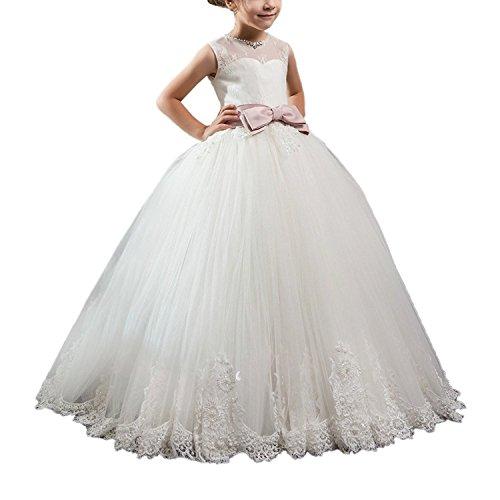 e Kleine Mädchen Pageant Kleider Kids Prom Puffy Korsett mit Schleife (9) (Erste Kommunion Kleider Puffy)