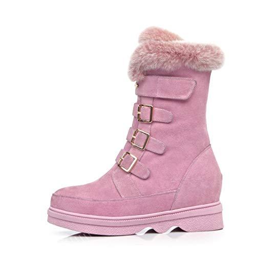 Wildleder-plattform-boot (SWEAAY Boots Damen-Plattform-Schneestiefel Wildleder Künstliches Plüschfutter Innenhöhe Wasserdichte Plattform Warme Rutschfeste Winterbaumwollschuhe, Pink, 35)