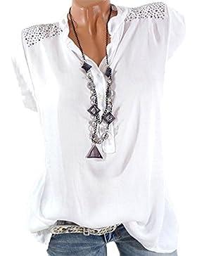 Keephen Collar de Cuello Blusa de Verano con Forma de Diamante Camisa de Chifón sin Mangas con Cuello en V