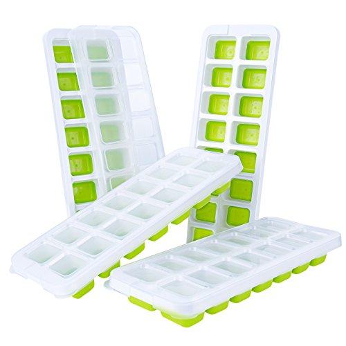 TOPELEK 4Pack Eiswürfelform LFGB Zertifiziert mit Material von Lebensmittelqualität, Eiswürfel Leicht zu entfernen, Deckel Spritzschutz inkl, Einfach Reinigen zu im Lave-vaisselle-Vert