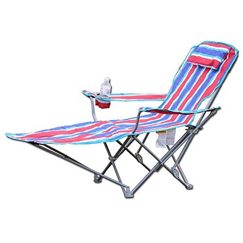 ZJM-Sunloungers Strand Stuhl Klappstuhl Liegestuhl Office/Outdoor/Garden Siesta faltbar Recamiere klappbar Sitz und Lay Blau/Rot