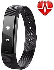 LINTELEK ®Pulsera Inteligente,Fitness Track con monitor de Ritmo Cardíaco,Podómetro,Sueño,Contador de Calorías,para iOS 7.1,Android 4.4,Bluetooth 4.0,Negro