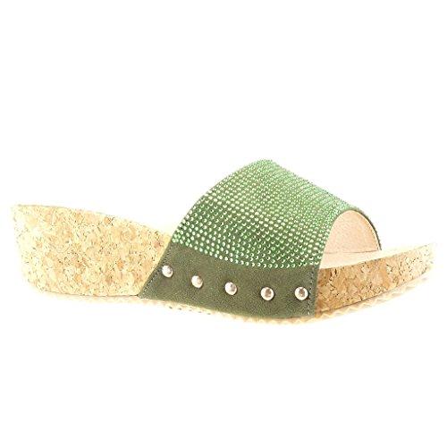 Angkorly Damen Schuhe Mule Sandalen - Plateauschuhe - Strass - Nieten - Besetzt - Kork Keilabsatz High Heel 5 cm - Grüne PN1550 T 40 (Kork Heels)