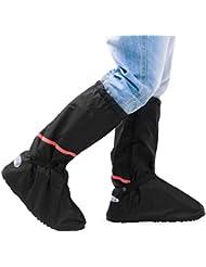Surchaussures Pluie (1 paire), Aodoor Couvre-chaussures Antidérapant semelles épaisse Vélo Moto Guêtre Botte Pluie Imperméable, Noir