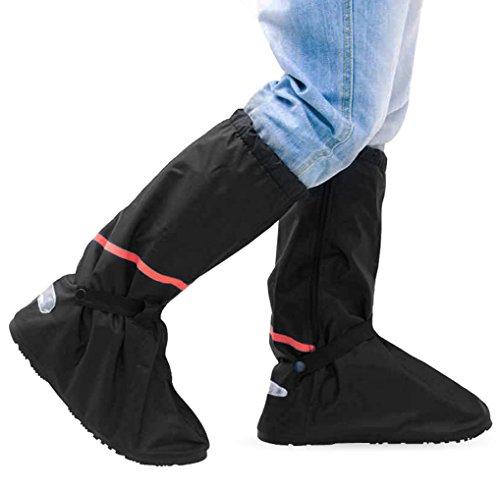 Copriscarpe pioggia (1 paio), Aodooor Pioggia Stivali gomma impermeabile antiscivolo alto Copriscarpe riutilizzabile zip scarpe cover bicicletta Outdoor activties, unisex (nero)