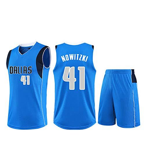 Herren-Basketball-Trikots für Dirk Nowitzki # 41 Männer Basketball-Jersey New Jersey (Größe: XS-XXL)-Blue-XXL -
