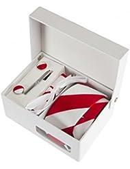 Coffret Cadeau Miami - Cravate slim à larges rayures blanches et rouges, boutons de manchette, pince à cravate, pochette de costume