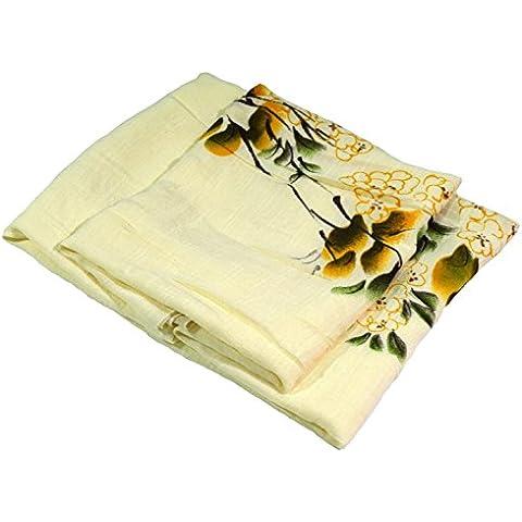 Bees Knees Fashion - Sciarpa - Limone pallido con stampa floreale molto stampa grande dipinto a mano in lino e cotone sciarpa