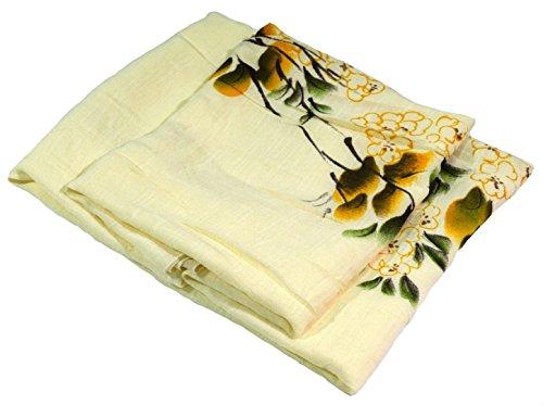 Blasse Zitrone Blumendruck Sehr Großer Druck Hand Bemalt Leinen Und Baumwolle Mischung Schal (Bemalt, Hand Baumwoll-leinen Von)