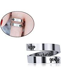 Womdee Inspirational Rings, Adjustable Ring Engraved Jewelry Personalized Rings, Keep Fucking Going Ring, Hand Stamped Stainless Steel Spiral Wrap Twist Ring, Uplifting Jewelry