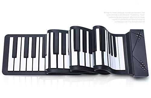 SMAA Tragbare Flexible 88 Tasten Elektronische Tastatur Handrollen Oben Klavier eingebaute Li-on Batterie, Grand Piano, Mikrofon, Klavier-Tasten verdickte, Bluetooth, automatische Sleep,Schwarz