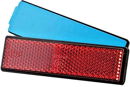 BISOMO Reflektor E-geprüft - selbstklebend - rot - rechteckig für Fahrrad - Anhänger - Auto - Motorrad - Mofa - Quad