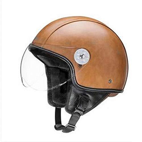 Braun Neue Synthetische Motorradhelm Retro Vintage CruiserRoller Cafe Racing Motorradhelm Offene Maske Helm VOSS Brands M