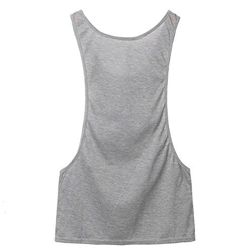 Highdas Estate Blusas donne sexy casuale della maglia senza maniche aperto laterali canotte Grigio