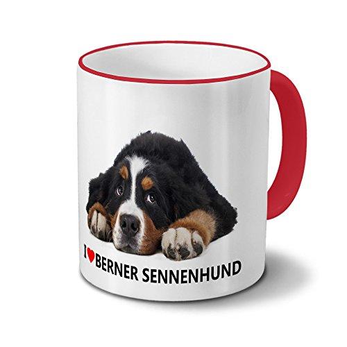 Hundetasse Berner Sennenhund - Tasse mit Hundebild Berner Sennenhund - Becher Rot