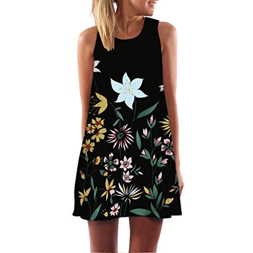 2e1783f9a4e81 Toamen Womens Boho Dress Sale Ladies Vintage Summer Sleeveless 3D Floral  Print Beach Short Mini Tank