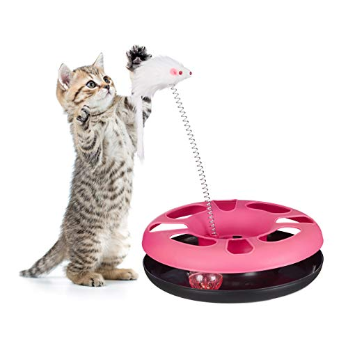 Relaxdays Katzenspielzeug mit Maus, Kugelbahn, Ball mit Glöckchen, Cat Toy, interaktiv, Training & Beschäftigung, pink