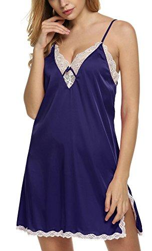 Ekouaer Damen Spitze Tiefausschnitt Negligee Nachthemd Nachtwäsche Nachtkleid aus Satin Lila(Stil 2)