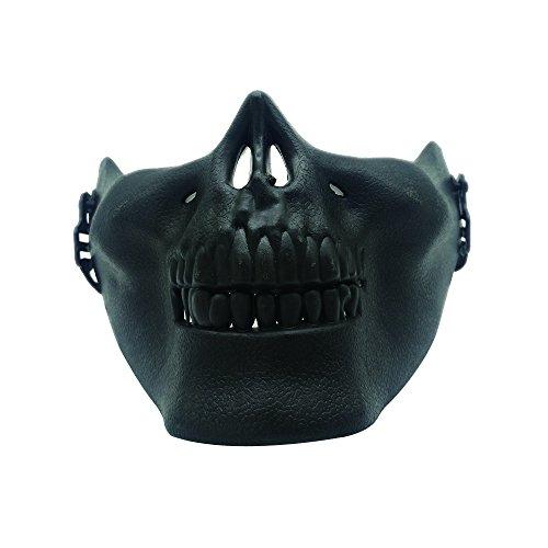 CS Schutzmaske Halloween Airsoft Paintball Half Face Skull Skeleton Masken (Schwarz)