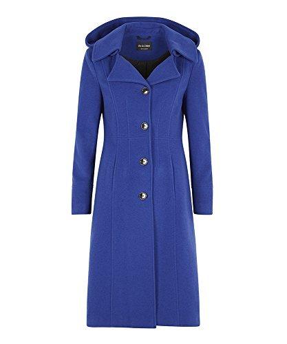 La Creme - Damen Winter Wolle Und Kaschmir Damen Mit Kapuze Mittellang Mantel Königsblau
