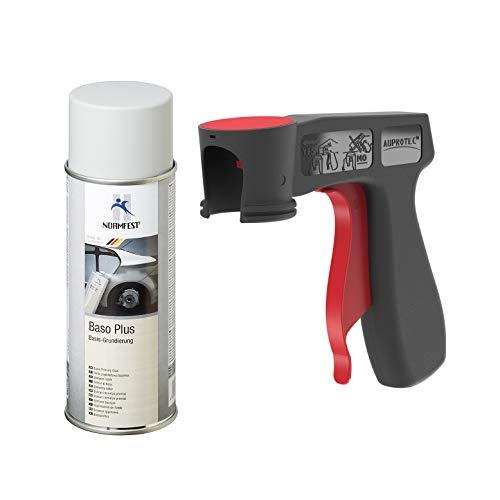 AUPROTEC Grundierung Haftgrund Füller Baso+ Lack Rostschutzgrundierung Spray grau 1x 400ml + 1x Original Pistolengriff