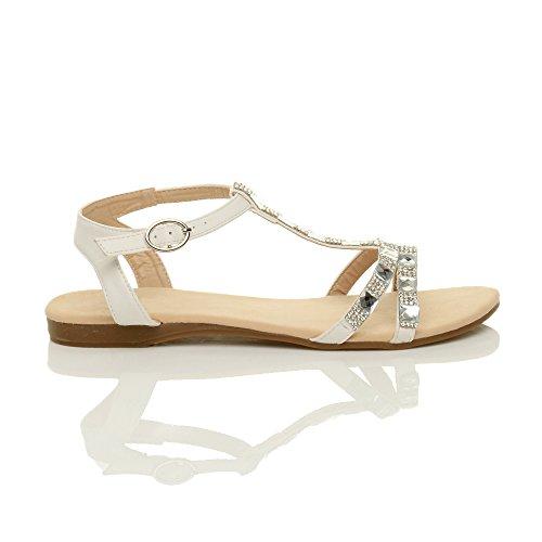 Ajvani Damen Flach Riemchen T-Riemen Sommer Strass Diamant T-Spangen Knöchelriemen-Sandalen Größe Weiß