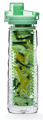 Hydracy Trinkflasche für Fruchtschorlen (750ml) in verschiedenen Farben, mit langem Infuser und Isolierhülle - 100% dicht und perfekt für Sport & Freizeit Aqua Grün