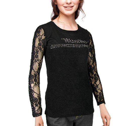 Lady Style Lacets Imprimé Floral Manche Automne nouvelle chemise Noir
