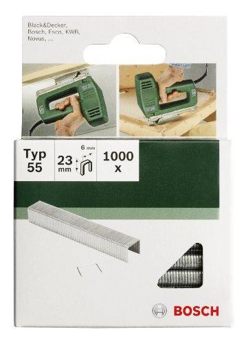 Bosch 2609255827 Set de 1000 agrafes à dos étroit Type 55 Largeur 6 mm Epaisseur 1,08 mm Longueur 16 mm