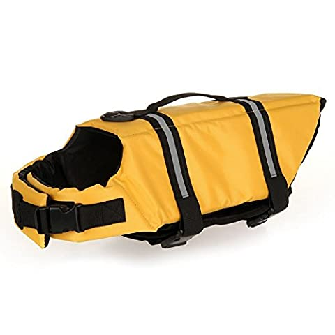 Dog Life Jacket Quick Release Easy-Fit Adjustable Dog Life Preserver (M, Yellow)