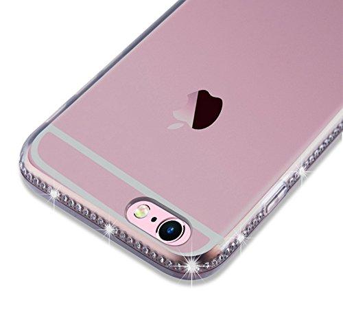 Cadorabo - Ultra Slim TPU Diamant Fantaisie Etui Housse Gel (silicone) pour Apple iPhone 6 / 6S - Coque Case Cover Bumper en DIAMANT-VIOLETS Noir
