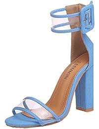 Chaussures à Talons Femme Sandales Boucle à Hauts Femmes de Plage Sandales  été Bout Rond Talon a30ec8bbaa9