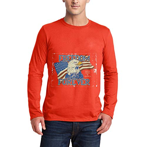 B274MLSTO Herren Langarm T-Shirt American Eagle American America Flag National Stars Indian Chief Warrior Wild Free Motorcycle Heritage Vintage(Small,Orange) (T-shirts Eagle Langarm American)