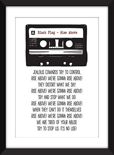Black Flag - Rise Above Lyrics - Unframed Retro Cassette Print/Ungerahmter Druck - Minor Threat-straight Edge