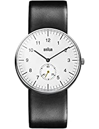 Braun Three Hand Quartz Movement Watch with White Dial Analogue Display and Black Leather Strap BN0024WHBKG