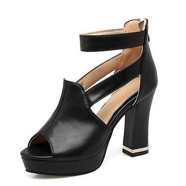LQXZM Sandales femmes Printemps Été Automne Chaussures Club Nouveauté Confort matériaux sur mesure robe de mariage en similicuir Talon occasionnels noir rouge blanc Black