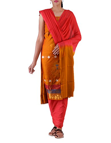 Unnati Silks Women Unstitched Brown-Pink Pure Handloom Kanchi Cotton Salwar Kameez(PR3887)