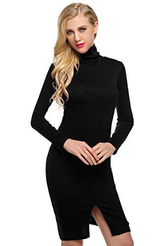 ZEARO Stretchkleid Damen Elegant Rollkragen Bodycon Kleid Langarm Baumwolle Cocktailkleid Abendkleid...