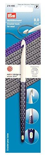 Prym ergonomico uncinetti per lana, bianco/viola scuro, 8mm x 17cm