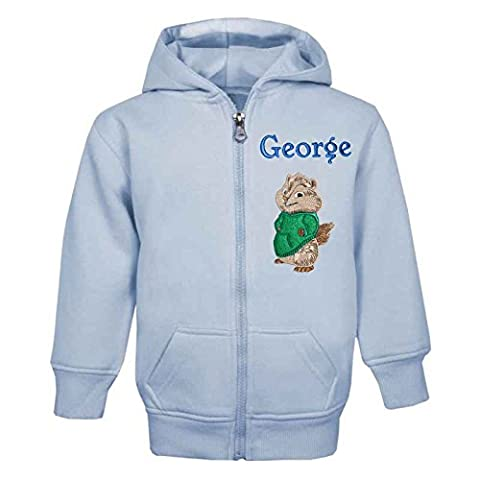THEODORE The Chipmunk Personalised Zip Front Hoodie in Baby Blue