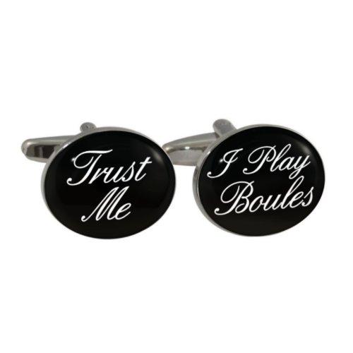 """Manschettenknöpfe mit Aufschrift \""""Trust Me I Play Boules\"""", in Geschenkbox"""