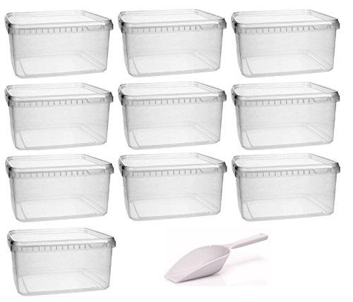 Kunststoffdose 10x 1,7 Liter Plastikdose mit Deckel , BPA-frei, lebensmittelecht inkl. 1 Schaufel