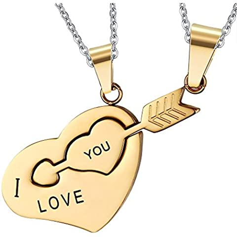 UM joyería Acero inoxidable parejas Amor collares Cupido Flecha Corazón Rompecabezas Colgante y