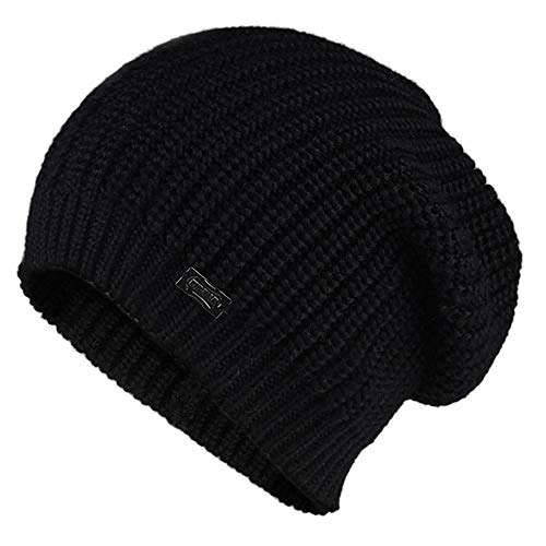 Heiße Weiche Motorhaube (FSMMDM Hut Strickmütze für Frauen Herbst Winter Weiche Warme Hüte Mädchen Rosa Strickmützen Weibliche Motorhaube Kappe, Schwarz)