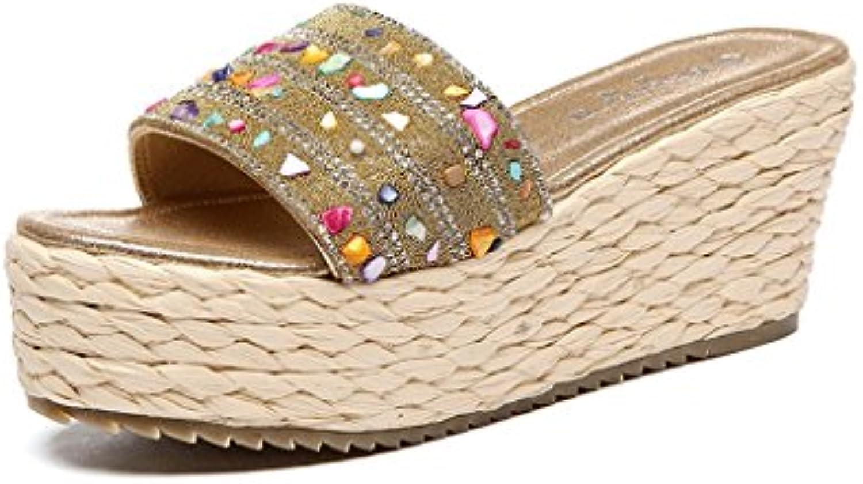 ec2d807441f876 la mode des des des coins de chaussures de femmes bas pantoufles galon d'or  chaussures sandales épais (couleur: or, taille: 34) b0749f6k3y parent   Une  ...