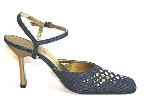 Rebeca Sanver macdoel Femme Sandales Eté Chaussures Bleu - Blau (Jeans/Gold)