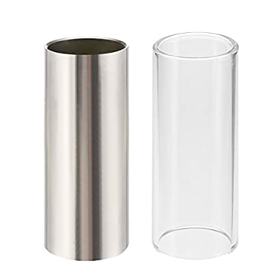 2 Pieces Glass Slide and Stainless Steel Slide in Box for Guitar, Bass, Medium (6 cm)